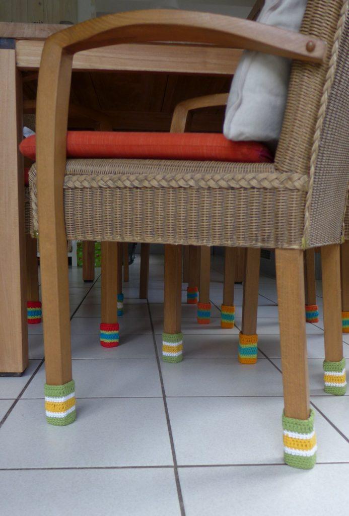 Stuhlsocken, Chair socks,Stuhlschutz, Häkelsocken.Fliesenkratzschutz