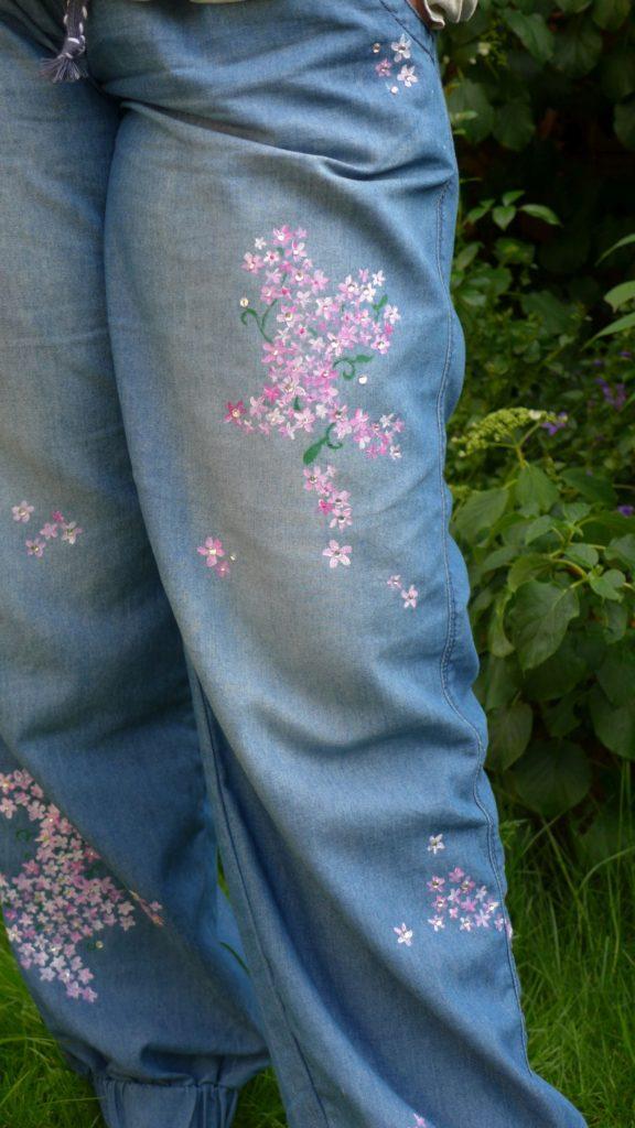 Strass Blumen bemalte Jeasns Sommerhose