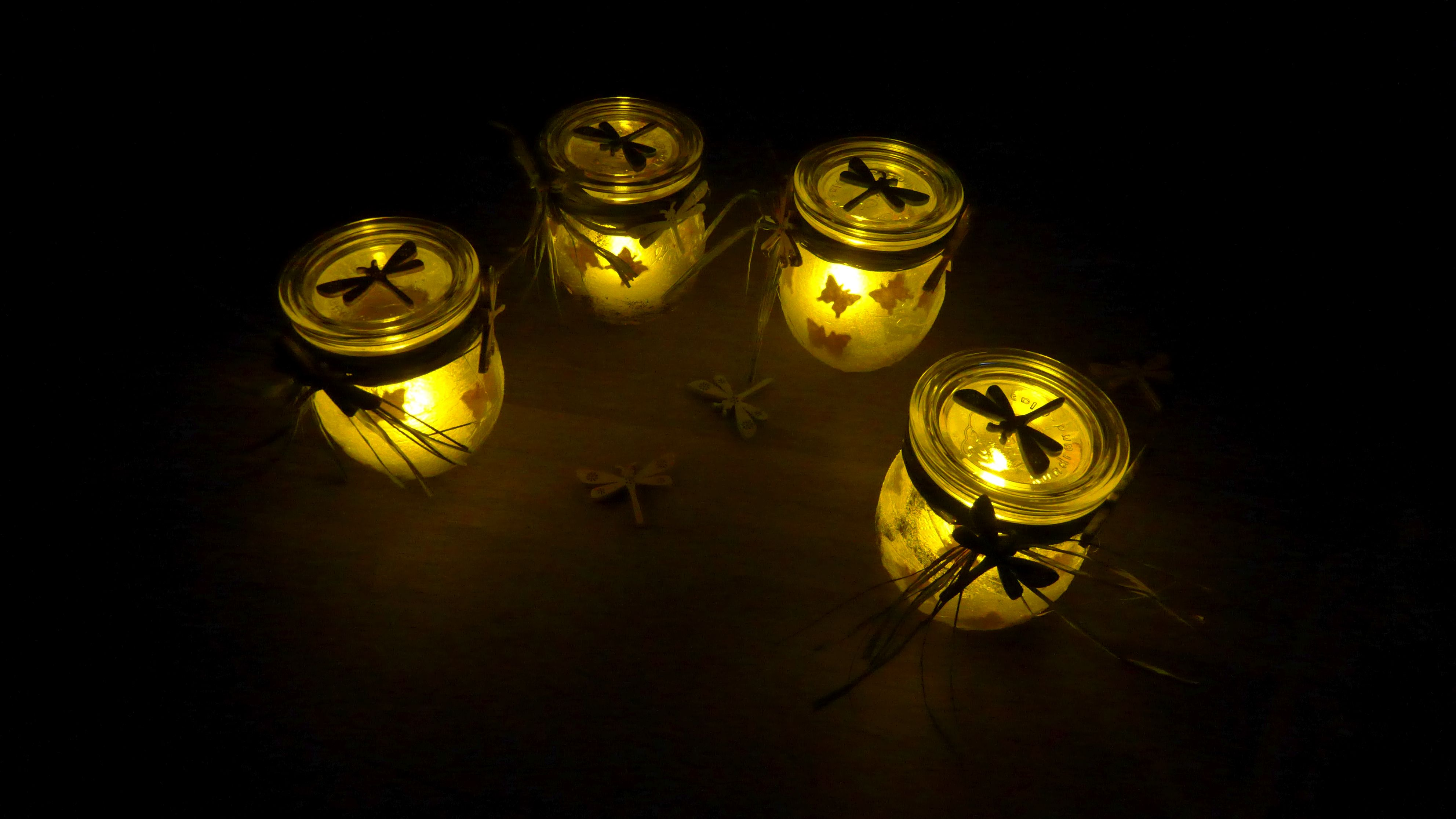 Schmetterling, Teelicht, Gartenlicht, Windlicht, Servierttentechnik